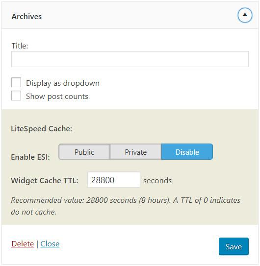 ESI Widget in LiteSpeed Cache
