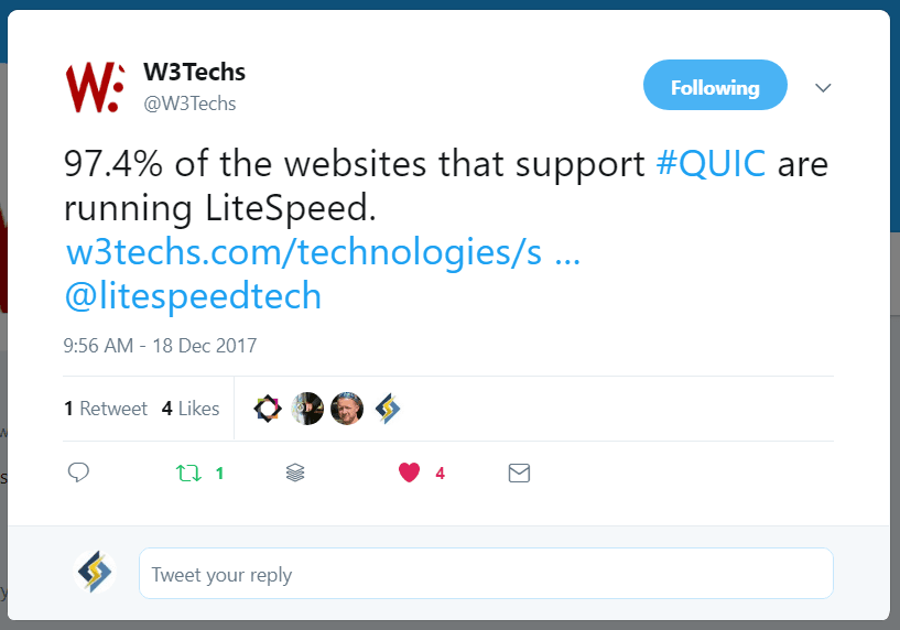 LiteSpeed QUIC Internet Protocol Tweet via W3Techs