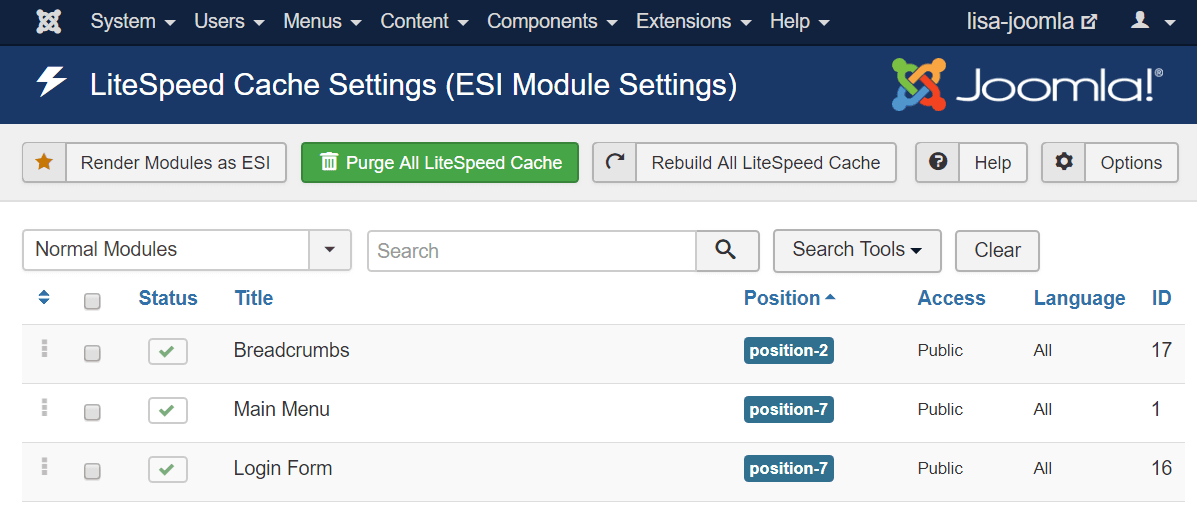 Beginner's Guide to LiteSpeed Cache for Joomla: Manual Purge