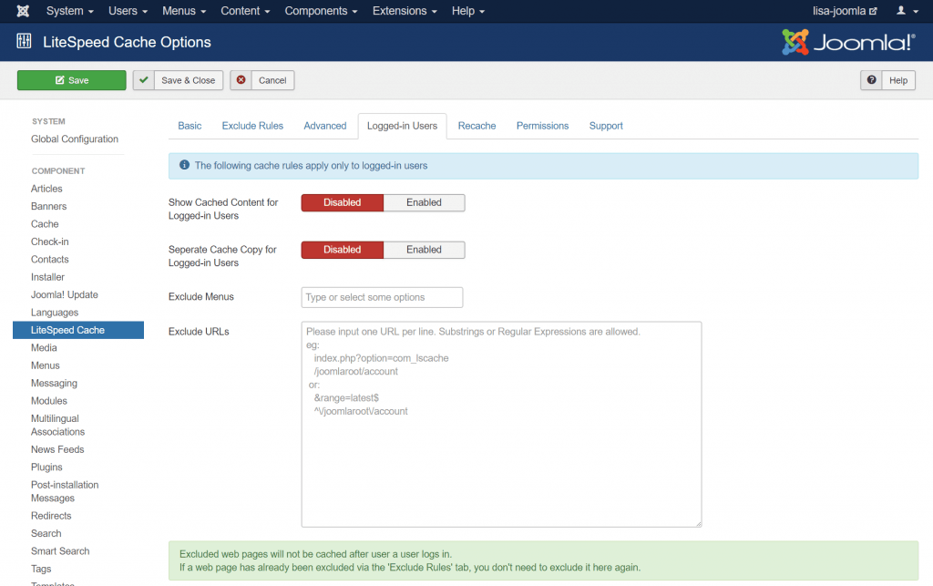 Caching Logged-in Users in Joomla: Logged-in Users Configuration Screen