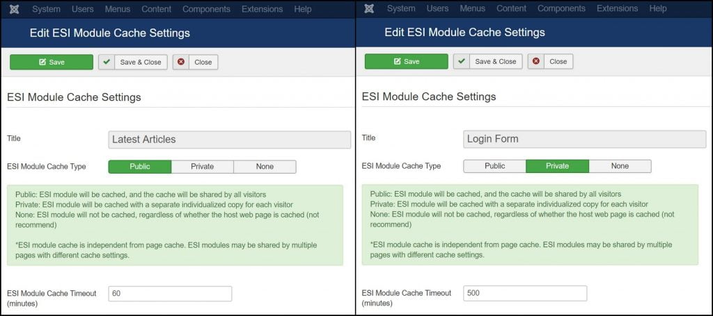 Using ESI in Joomla: ESI Module cache settings