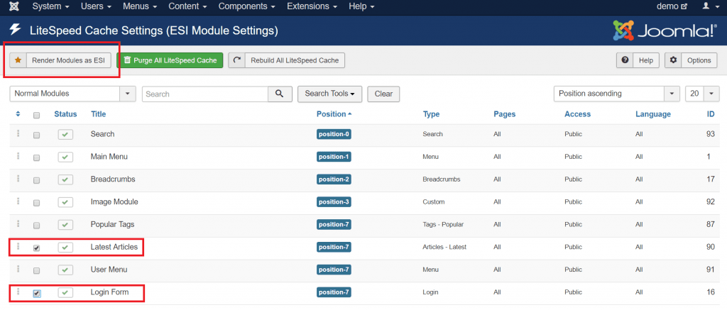 Using ESI in Joomla: Module settings screen before