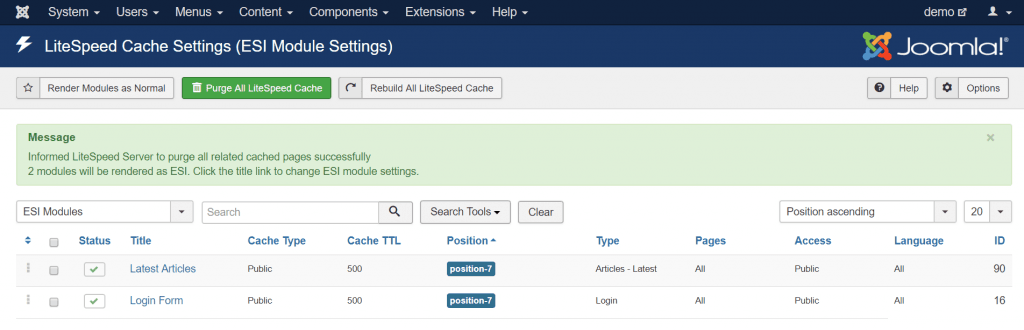 Using ESI in Joomla: Module settings screen after