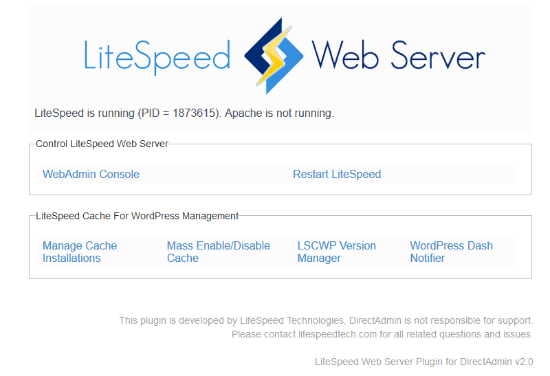 OpenLiteSpeed Support in DirectAdmin